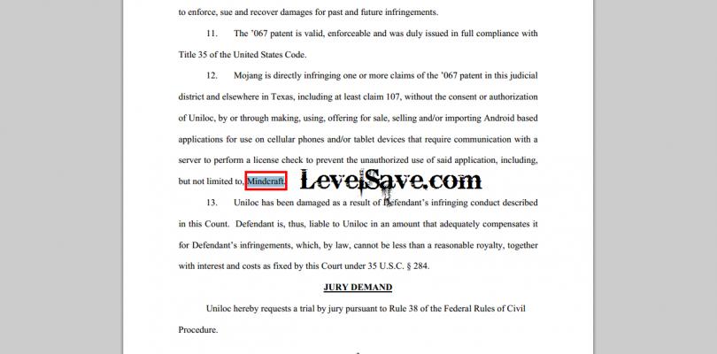 Uniloc Suing Mojang over Patent Infringement